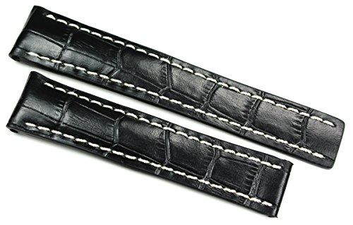 RIOS1931 20 mm / 18mm Uhrenarmband ECHT Lederband Handgemacht KROKO Prägung BAND schwarz für Faltschließe Passt für Breitling GERMANY Krokoprägung Alligator Uhrenband Leder (Uhrenarmband Krokodil)