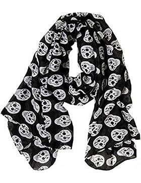 Pañuelo, bufanda Calavera negro y blanco 175x80 cm, novedad.