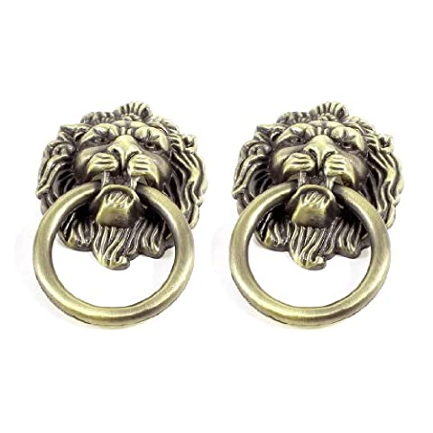 Sourcingmap a13050200ux0478 Metal Lion Head Style Door Pull Handle Knobs Pair - Bronze Tone