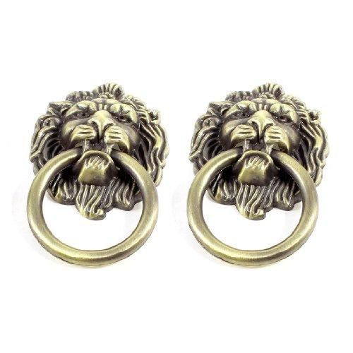 Sourcingmap a13050200ux0478 Metal Lion Head Style Door Pull Handle Knobs Pair - Bronze Tone