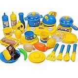 OviTop - Kochgeschirr Kinder - 33er Set Kinderküchen Zubehör - Rollenspiel - Kinderküchen Spielzeug Lebensmittel - Frühkindliche Bildung (Blau)