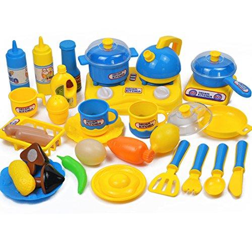 tik Kinderküche Geschirr Kochgeschirr Kinder Kochutensilien Kinderküche Küchenspielzeug für Kinder 3-7 Jahre (Blau, Gelb) ()