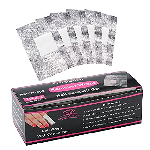 MAKARTT Nail Polish Remover Wraps Foils Pads Soak Off Acrylic UV Gel Nail Varnish Removal 200Pcs Box