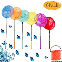 bluesees Butterfly Fishing Net, 6 Pack Kids Telescopic Butterfly Fishing Net Childrens Insect Catch Mesh Fish Extendable Insect Bugs Catcher fish catching game for Children