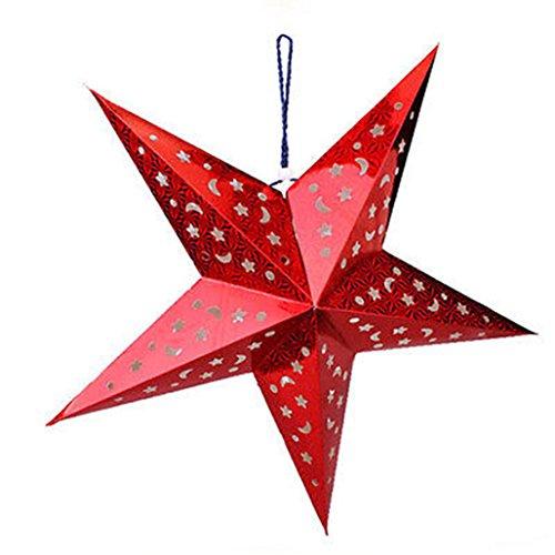 """Bluelans festival ciondolo a forma di stella da appendere Home party decorazioni per albero di Natale, Red, 30cm/11.81"""""""