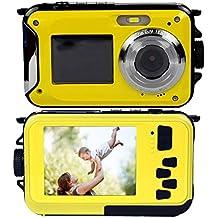 Digitalkamera Stoga CGT001 Doppelbildschirme Wasserdichtes Digital-Videokamera 2.7-Zoll-Front LCD mit 2,7-Zoll-Kamera Einfache Selbstschuss Kamera-Gelb