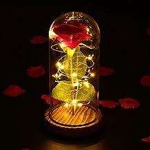 LEDMOMO Rosa de seda roja y luz LED con pétalos caídos en una cúpula de cristal sobre una base de madera Regalo para el día de San Valentín Boda de ...