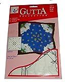 ARTY'S GUTTA COLLECTION - Motiv: Edelweiß - Crepe de Chine 5, ca. 90x90cm, rollierte Ränder (Gutta schwarz)