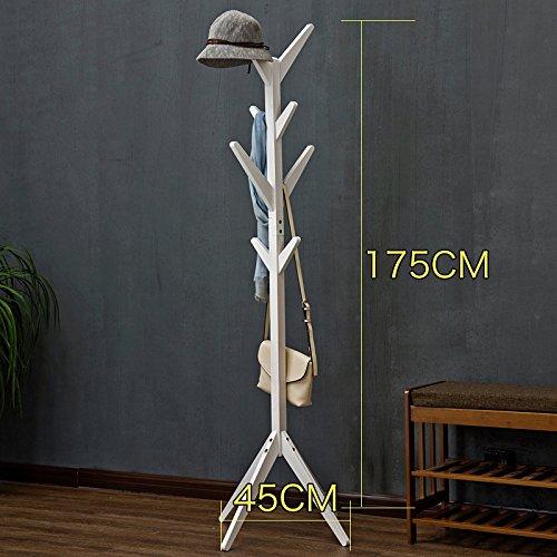 HM Porte-manteaux en bois massif Salon Chambre Sac Rack Hall Hanger Storage Shelf Multi-couleur (Couleur : Blanc, taille : A)