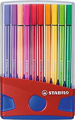 STABILO Pen 68 - ColorParade rouge de 20 feutres pointe moyenne sans attache - Coloris assortis