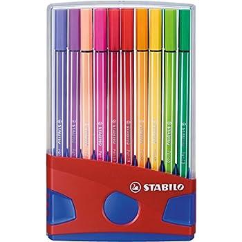 STABILO Pen 68 - ColorParade rouge de 20 feutres pointe moyenne sans attache - Coloris assortis