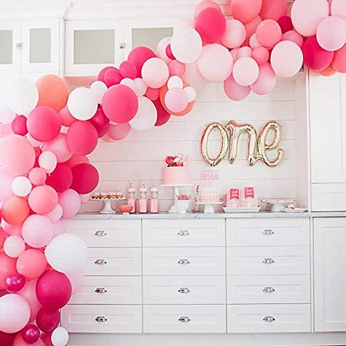 Luftballons für Latexpartys 105 Stücke 10 In Rosa Runde Ballon Macaron 6 Farben für Party Dekoration Geburtstag Hochzeit Baby Shower (Rosa, Hellrosa, Rose Rot, Dunkelrosa Rot, Koralle, Weiß)