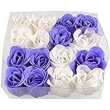 SODIAL(R) 16 x Jab¨®n de Ba£¿o P¨¦talos Rosa Perfumado Hecho de Mano - Blanco Purpura