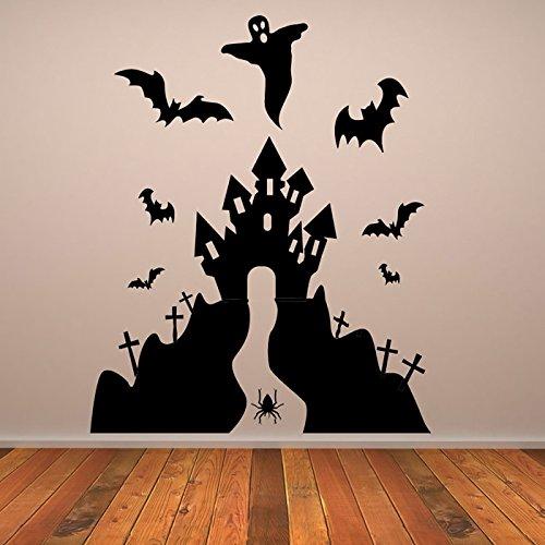 ndaufkleber Halloween Wandtattoo Scary Kinder Dekor verfügbar in 5 Größen und 25 Farben X-Groß Weiß (Scary Halloween-dekor)