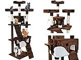 Kratzbaum Katzenkratzbaum Kletterbaum Katzenbaum Spielbaum 170cm 3 Farben #2779, Farbe:Braun-Weiß