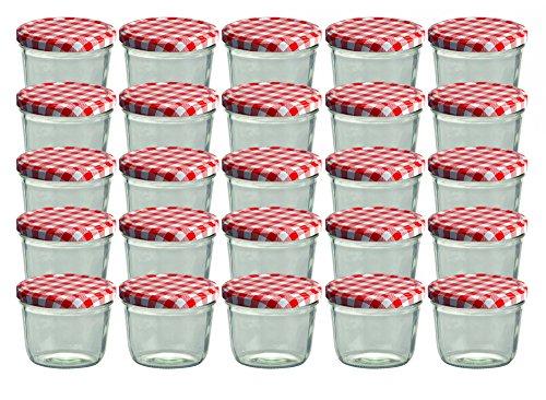 zglas 230 ml Marmeladenglas Einmachglas Einweckglas to 82 rot Karierter Deckel ()