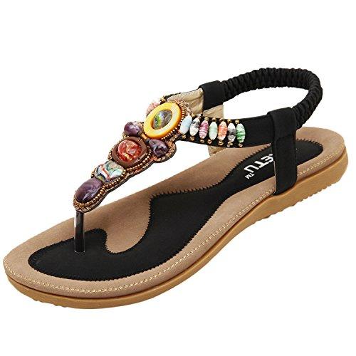 Oasap Damen Boheme Sommer Strand Beads Sandalen Black