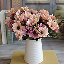 Ramo de flores artificiales flores de seda de flores de 6ramas 10Cabeza Primavera Flor