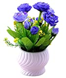 #3: NOVICZ Natural looking Artificial Flowers with Flower Vase (Violet)