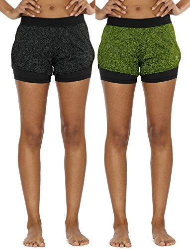 icyzone Damen Sport Shorts Kurze Hosen Sporthose - 2 in 1 Laufshorts Fitness Yoga Hot Pants (S, Black Heather/Green Heather)