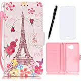 Lotuslnn Samsung galaxy A3 (2016) Coque Tour Eiffel, Rose,Dessin coloré Flip Wallet Cuir Etui Housse Case Cover pour Samsung galaxy A3 (2016) -(Coque+ Stylus Stift+Screen Protector)