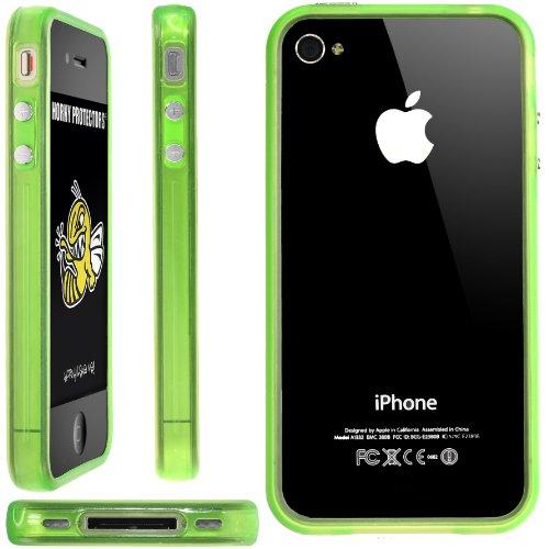 Horny Protectors Bumper für Apple iPhone 4 rosa/weiß mit Metallbutton leuchtend grün/transparent grün