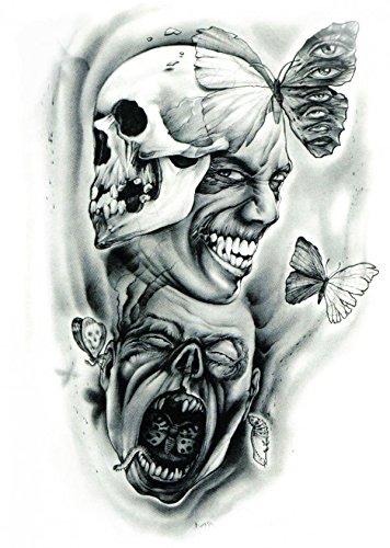 Tatouage Halloween Grashine pour les adultes terribles tête de mort est souriant avec papillon mauvais tatouages temporaires réalistes et faux