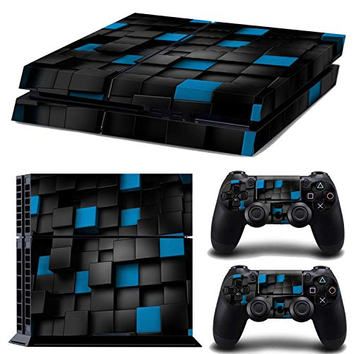 Price comparison product image weilinchn For PS4 Removable Decal Film Skin Sticker Cover Protector For Playstation 4 PS4 Console and 2 Controllers Sticker Blue / Black