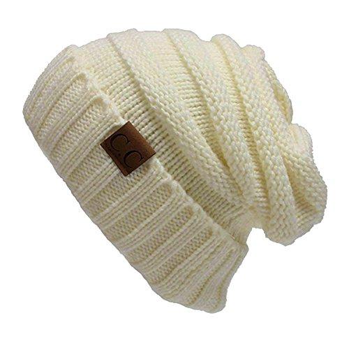 Tiny Time Unisex Strickmütze Winter Weich Hut Beanie CC Pullover (Weiß)