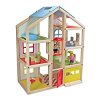 Melissa & Doug Hi-Rise Wooden Dollhouse With 15 pcs Furniture - Garage and Working Elevator