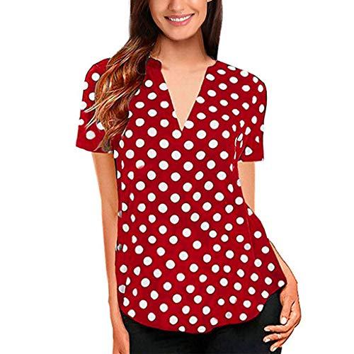 Luckycat Mujer Camiseta Mangas Corta Blusa Elegante Noche Casual Oficina Mujeres Manga de Campana Camisa Slim fit del Lunar Señoras Casual Blusa Tops Casual de Mujer Solid Camisa Blusa Camisas
