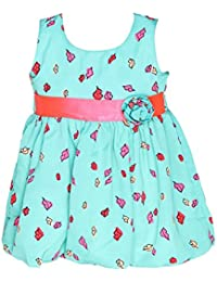 Chipchop Kids Girls Casual Green Floral Print Cotton Dress - 12 Months, 1 Year, 2 Years, 3 Years, 4 years, 5 Years, 6 Years
