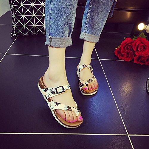 XIAMUO Koreanische Version von Frau Cork Hausschuhe Sommer groß Clip-Fuß rutschfeste Flat student Sandalen von Strand flip-flops, 40, Kokospalme toe