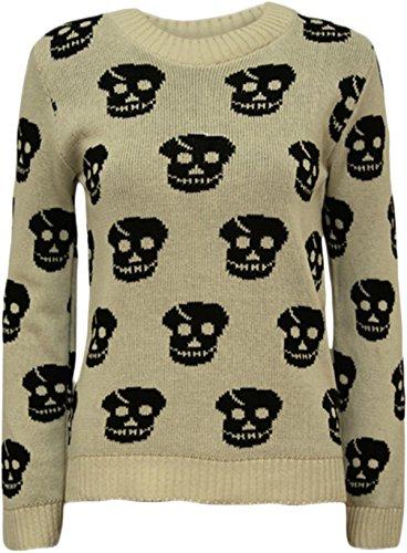 Nouveau dames Skull Head Imprimer tricot usure Sweat Shirt Tops des cavaliers 36-42 Beige