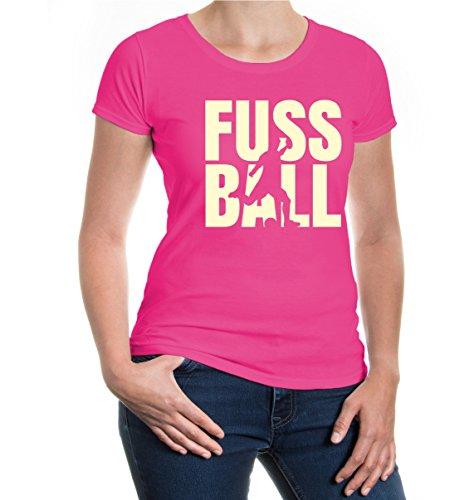 buXsbaum® Girlie T-Shirt Fussball Type Fuchsia-Beige