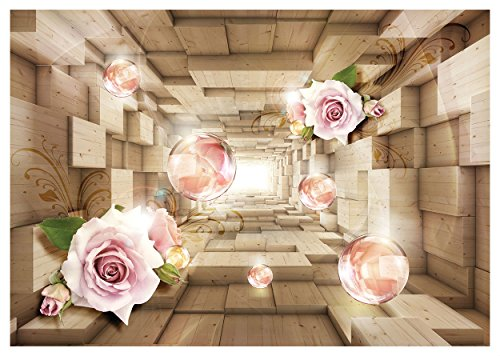 Fototapete Wooden 3D Effekt abstrakt Tunnel Rose Flower Wand Wandbild (3358ve), 152cm x 104cm (WxH)