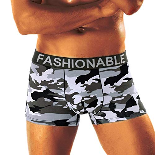 Lannister Fashion Herren Plus Size Tarn Herren Boxershorts Camouflage Bekleidung Weichen Baumwolle Unterhose Buchstabe Boxershort Panty (Color : B, Size : XL)