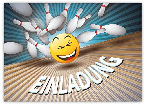 Preisvergleich Produktbild 12 Lustige Einladungskarten im Set für Kindergeburtstag Bowling Party für Jungen Mädchen Kinder Kegeln Partyspiele Karten Emoji Smiley witzig
