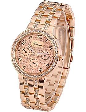 JSDDE Uhren,Elegante Damenuhr Herrenuhr Faux Chronograph Optik Runde Quarzuhr Kristalle Armbanduhr(Ros¨¦gold)