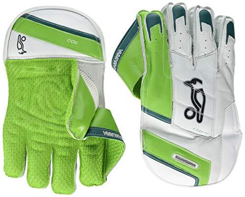 KOOKABURRA 2019 1100 Erwachsene Cricket Wicket Keeper Handschuhe weiß/grün, Unisex-Erwachsene, 1100 Wicket Keeping Gloves, Weiß-grün, Adult