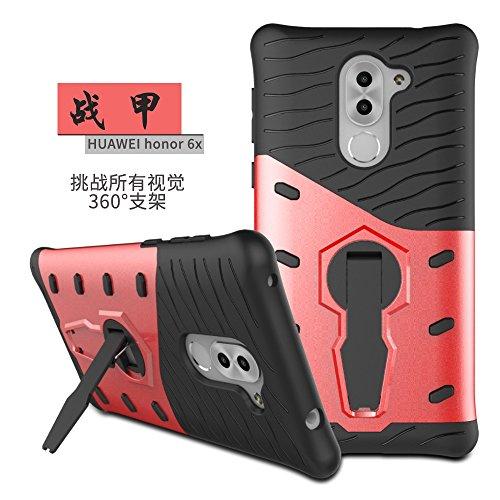 YHUISEN Huawei 6X Case, Hybrid Tough Rugged Dual Layer Rüstung Schild Schützende Shockproof mit 360 Grad Einstellung Kickstand Case Cover für Huawei Honor 6X / Mate 9 Lite ( Color : Red ) Red