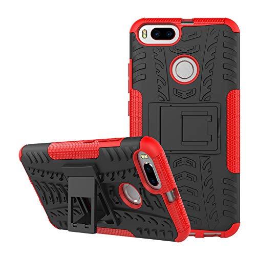 pinlu® Funda para Xioami Mi A1 / Xiaomi 5X Smartphone Doble Capa Híbrida Armadura Silicona TPU + PC Armor Heavy Duty Case Duradero Protección Neumáticos Patrón Rojo