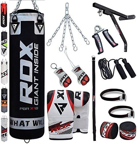 RDX Boxsack Set Gefüllt Kickboxen MMA Muay Thai Boxen mit wandhalterung Stahlkette Training Handschuhe Kampfsport Schwer Punchingsack gewicht 4FT 5FT 17PC Punching Bag