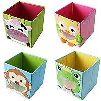 4 Piece TE-Trend Textile Folding box Spielbox Animal motif Frog Monkey Owl Kuh Storage Chest for Toy foldable 28 x 28 x 28 cm
