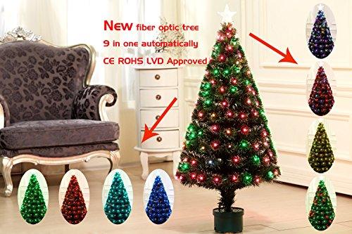 Youseexmas - Albero di Natale in fibra ottica con LED colorati, 9 effetti luce, altezza 120 cm, colore: verde