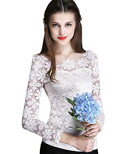 ONECHANCE Frauen-Spitze-langes Hülsen-runder Ansatz Blumenhäkelarbeit-einfache Spitzenbluse Farbe Weiß Größe 2XS -