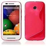 GADGET BOXX MOTOROLA MOTO E S-LINE SILICONE GEL IN PINK COVER CASE AND SCREEN PROTECTOR