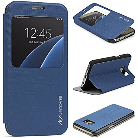 Urcover® Samsung Galaxy S7 | View Case Funda Protectora | Cross Pattern en Azul Obscuro | Carcasa Protección Completa Case Cover Smartphone Móvil