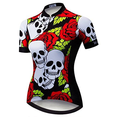 Weimostar Radtrikot Frauen Mountain Bike Trikot Shirts Kurzarm Rennrad Kleidung MTB Tops Sommer Sommer Kleidung Schädel rot Größe XL -