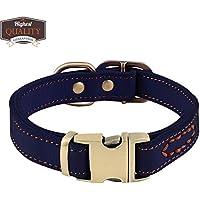 [Gesponsert]PETBABY Hundehalsband Leder, Verstellbare Haustier Halsband mit Metallschnalle Luxus Kragen für kleine und mittelgroße Hunde Welpen